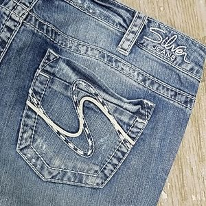 """Destroyed Silver Frances 18"""" bootcut"""